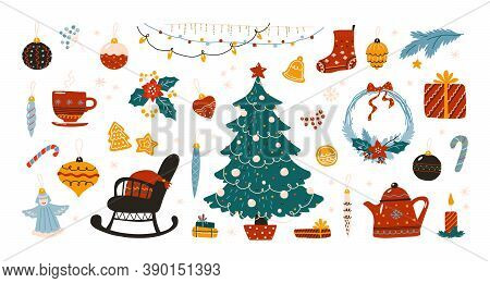 Doodle Christmas. Scandinavian Hygge Winter Traditional Holiday Decoration Elements, Cozy Xmas Tree
