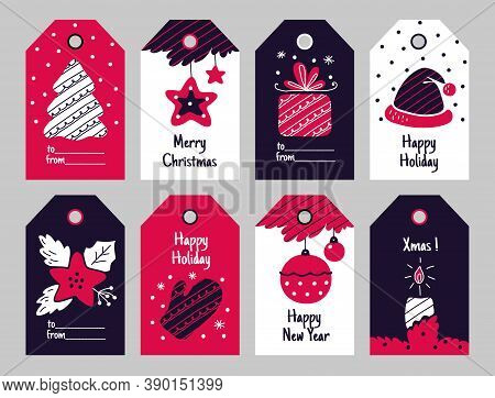Christmas Tags. New Year Present And Xmas Gift Labels With Winter Holiday Decorative Elements. Festi