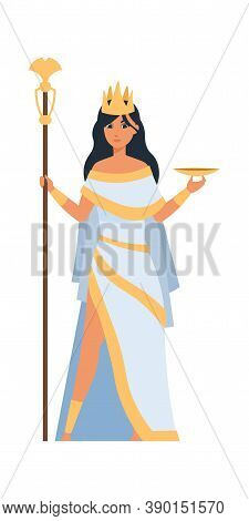 Hera Greek Goddess. Cartoon Ancient Mythology Character. Cute Woman In White Dress, Gold Crown And R