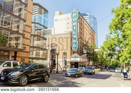 Portland, Or Usa - June 27, 2018: Sw Broadway Street In Portland With Arlene Schnitzer Concert Hall,