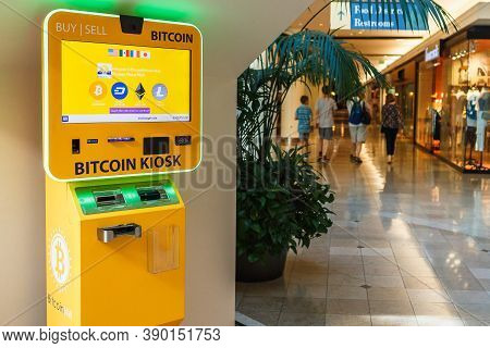 Portland, Or, Usa - June 27, 2018 : Bitcoin Kiosk Machine At Pioneer Place, Shopping Mall, In Downto