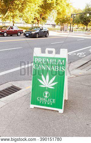 Portland, Oregon, Usa - June 27, 2018: Marijuana Or Cannabis Sign. A Sign Advertising Premium Cannab