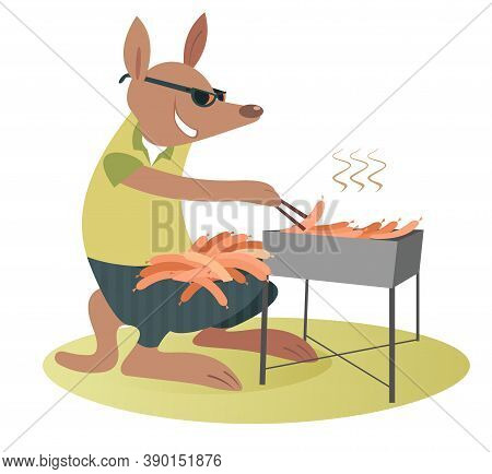 Cartoon Kangaroo Fries Sausages On The Grill Illustration. Funny Kangaroo In Sunglasses With A Lot O