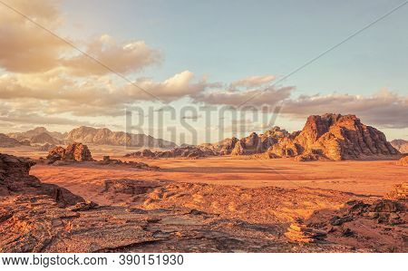 Red Mars Like Landscape In Wadi Rum Desert, Jordan, This Location Was Used As Set For Many Science F