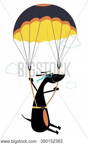 Cartoon Dog A Skydiver Illustration. Comic Dog Skydiver Derives Enjoyment From Jumping Isolated On W