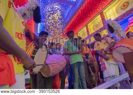 Howrah, West Bengal, India - 5th October 2019 : Traditional Dhaaks And Kansor Ghonta Are Played Duri