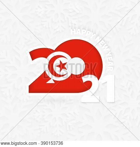 Happy New Year 2021 For Tunisia On Snowflake Background. Greeting Tunisia With New 2021 Year.