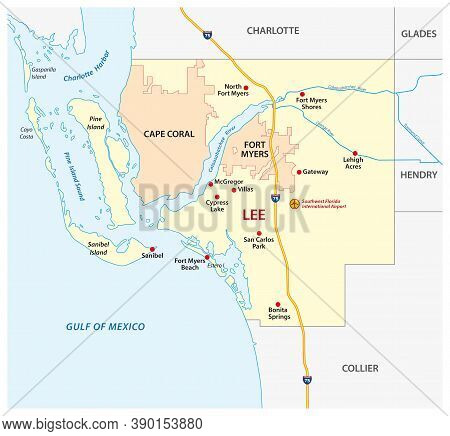 Lee County Map With Fort Myers And Cape Coral, Florida, United States