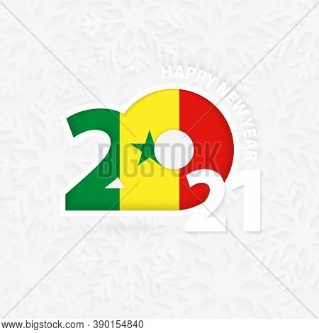 Happy New Year 2021 For Senegal On Snowflake Background. Greeting Senegal With New 2021 Year.