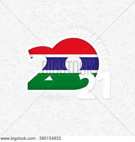 Happy New Year 2021 For Gambia On Snowflake Background. Greeting Gambia With New 2021 Year.