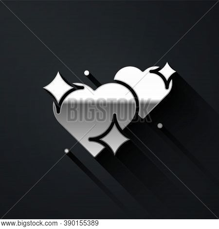 Silver Two Linked Hearts Icon Isolated On Black Background. Romantic Symbol Linked, Join, Passion An