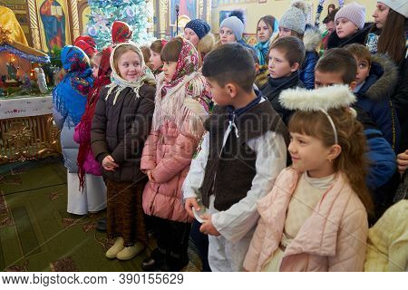 Carolers Children, 12.01.2020 Ukraine Mervychi, Childrens Choir Sing Carols For Christmas