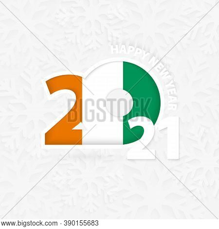 Happy New Year 2021 For Ivory Coast On Snowflake Background. Greeting Ivory Coast With New 2021 Year