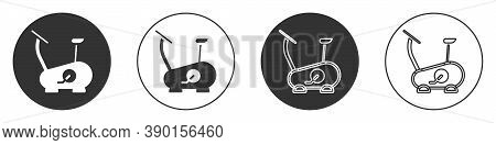 Black Stationary Bicycle Icon Isolated On White Background. Exercise Bike. Circle Button. Vector