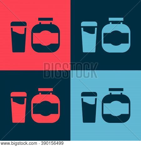 Pop Art Sports Nutrition Bodybuilding Proteine Power Drink And Food Icon Isolated On Color Backgroun
