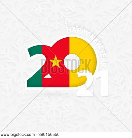 Happy New Year 2021 For Cameroon On Snowflake Background. Greeting Cameroon With New 2021 Year.