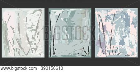 Creative  Abstract Background In Pastel Shades Editable  Vector Templates. Bright Colored With Hand