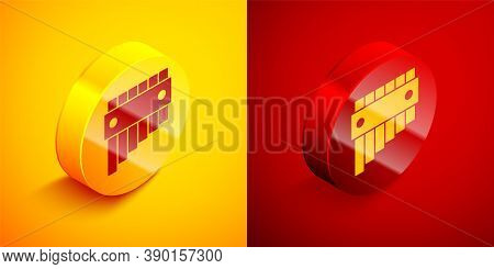 Isometric Pan Flute Icon Isolated On Orange And Red Background. Traditional Peruvian Musical Instrum