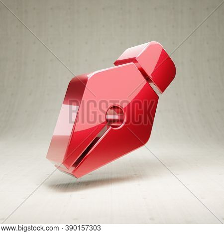 Pen Nib Icon. Gold Glossy Pen Nib Symbol Isolated On White Concrete Background. Modern Icon For Webs
