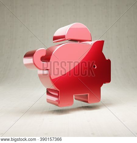 Piggy Bank Icon. Gold Glossy Piggy Bank Symbol Isolated On White Concrete Background. Modern Icon Fo