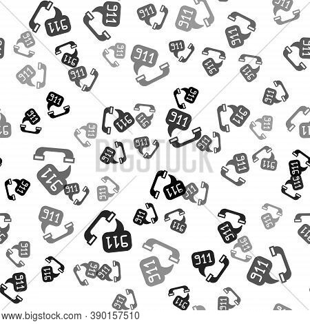 Black Telephone With Emergency Call 911 Icon Isolated Seamless Pattern On White Background. Police,