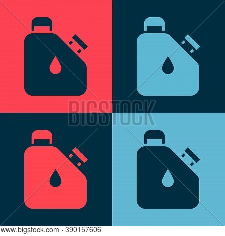 Pop Art Canister For Flammable Liquids Icon Isolated On Color Background. Oil Or Biofuel, Explosive