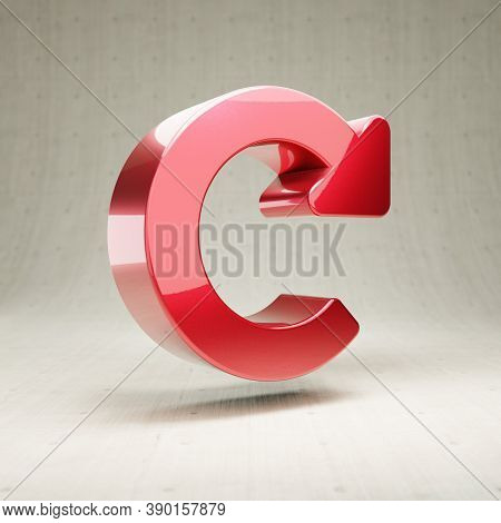 Redo Icon. Gold Glossy Redo Symbol Isolated On White Concrete Background. Modern Icon For Website, S