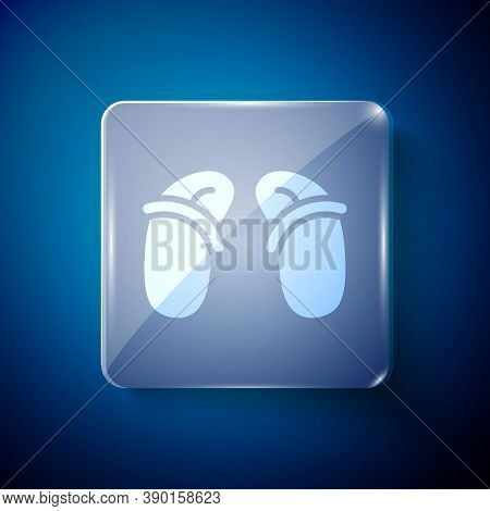 White Flip Flops Icon Isolated On Blue Background. Beach Slippers Sign. Square Glass Panels. Vector