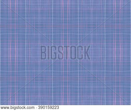 Blue Pastel Check. Seamless Tartan Texture. Scottish Shirt. Fashion Checkered Textile. Traditional P