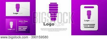 Logotype Led Light Bulb Icon Isolated On White Background. Economical Led Illuminated Lightbulb. Sav