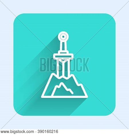 White Line Sword In The Stone Icon Isolated With Long Shadow. Excalibur The Sword In The Stone From