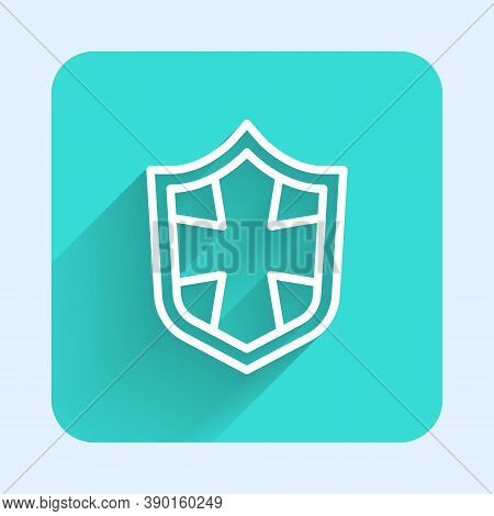 White Line Shield Icon Isolated With Long Shadow. Guard Sign. Security, Safety, Protection, Privacy