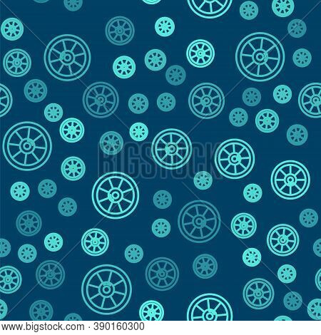 Green Line Round Wooden Shield Icon Isolated Seamless Pattern On Blue Background. Security, Safety,