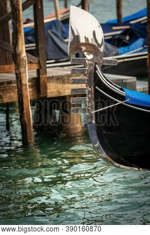 Venice, Close-up Of A Gondola Prow , Typical Venetian Rowboat, Canal Grande, Unesco World Heritage S