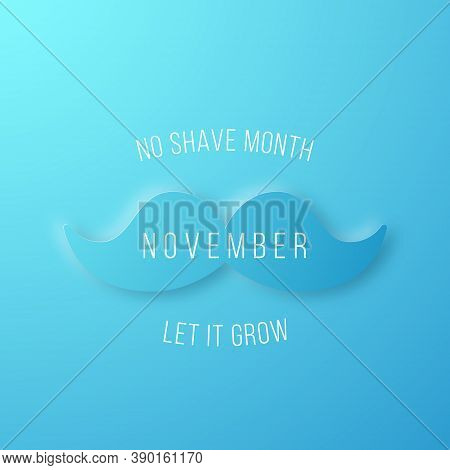 No Shave Month Banner. Paper Cut Blue Mustache. Template For Background, Banner, Card, Poster, Etc.