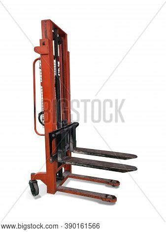 Old Painted Orange Lifter Isolated On White