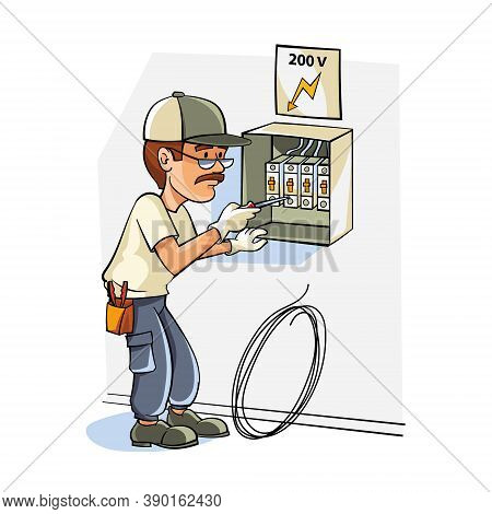 Electrician Specialist Near The Dashboard Of Electrical Appliances