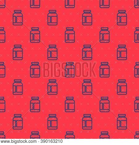 Blue Line Sports Nutrition Bodybuilding Proteine Power Drink And Food Icon Isolated Seamless Pattern