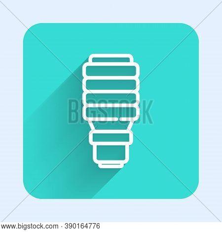 White Line Led Light Bulb Icon Isolated With Long Shadow. Economical Led Illuminated Lightbulb. Save