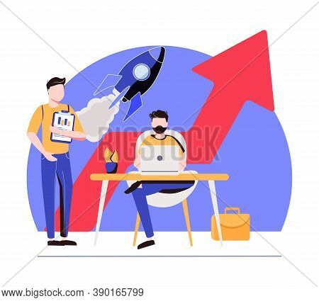Sales Managers With Laptops And Growth Chart. Sales Growth And Manager, Accounting, Sales Promotion