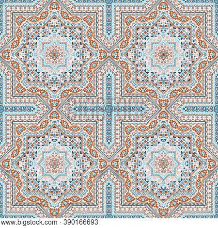 Luxury Italian Maiolica Tile Seamless Pattern. Geometric Texture Vector Swatch. Coverlid Print Desig