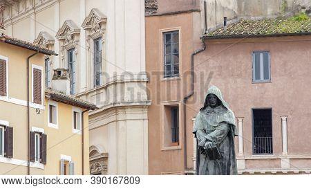 Giordano Bruno Statue In Campo De Fiori, Rome, Italy Campo De Fiori, Meaning Field Of Flowers, Is On