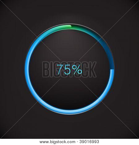 Round preloading  progress bar on black background with blue-green buffering indicator. Web preloader. Download bar. Vector illustration