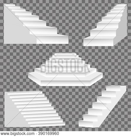 Architectural White Stairs. Stairs Image Isolated On Transparent Background, Abstract Modern Stairs