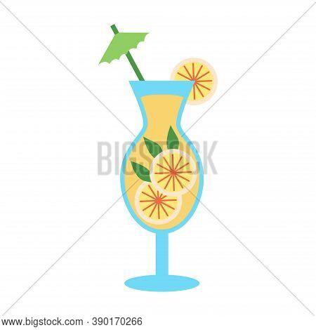 Tequila Sunrise Cocktail Garnished With Maraschino Cherry, Fresh Orange, Party Umbrella And Red, Yel
