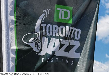 Toronto, Canada - 06 27 2016: Toronto Jazz Festival Banner In The Nathan Phillips Square