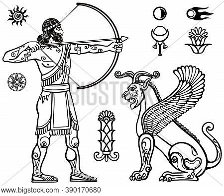 Image Of The Ancient Archer And Mythical Animal. Full Growth. Black And White Drawing Based On Motiv