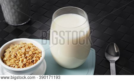Home Made Healthy Drink Soy Milk With No Sugar Added In A Glass.