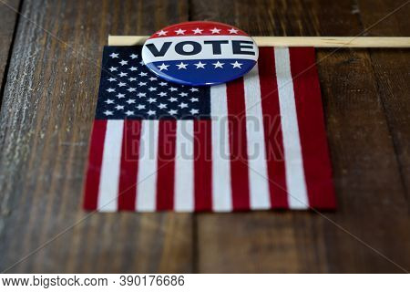 American flag with vote button