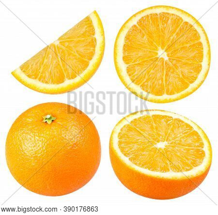 Isolated Oranges. Collection Of Whole And Sliced Orange Fruits Isolated On White Background With Cli